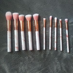 10pc pink marble make up brushes
